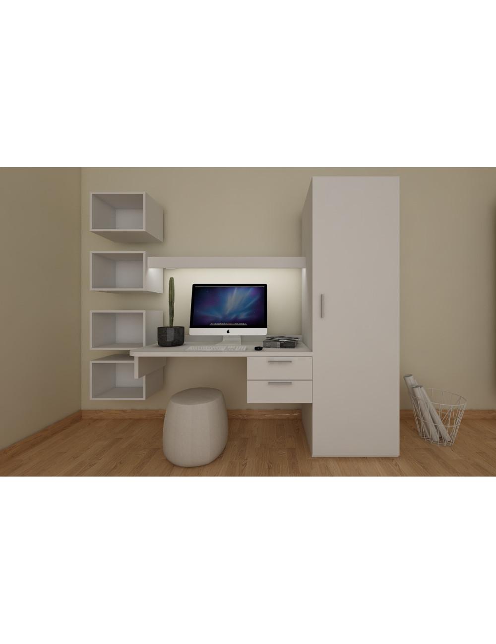 Angolo studio scrivania sospesa design con 2 cassetti ...